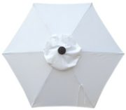 6 Rib Bright White Poly Umbrella replacement canopy top.