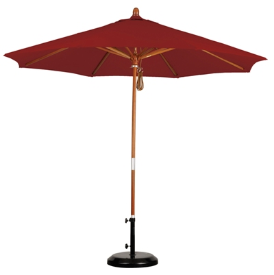 9' Wooden Sunbrella AA Patio Umbrella