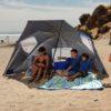 Sport Brella family beach sun shelter sets up in a snap