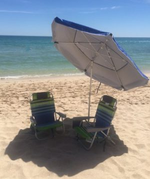 TeleBrella portable beach umbrella with telescoping framework