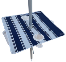 Nautical blue stripe portable beach umbrella pole table