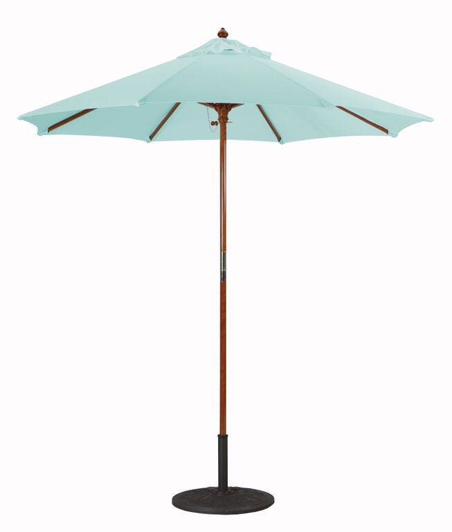 7.5' Wood Market Umbrella With Fade Resistant Suncrylic Canopy