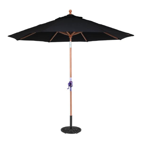 9' Teak Patio Market Umbrella With Rotational Tilt And