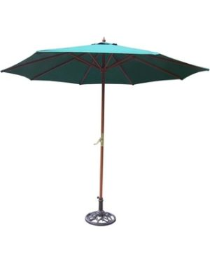 Wood patio market umbrella with crank